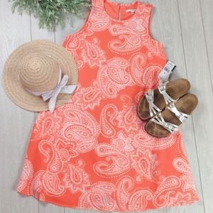 Crepe coral paisley swing dress by Studio One NWT
